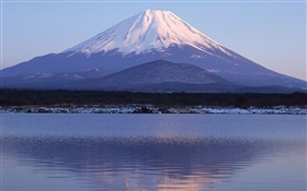 Sea, water reflection, Mount Fuji, Japan HD wallpaper