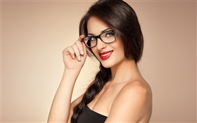 Smile girl, makeup, lipstick, glasses, black hair HD wallpaper