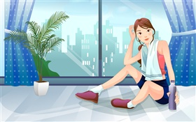 Sport girl, window, city, vector pictures