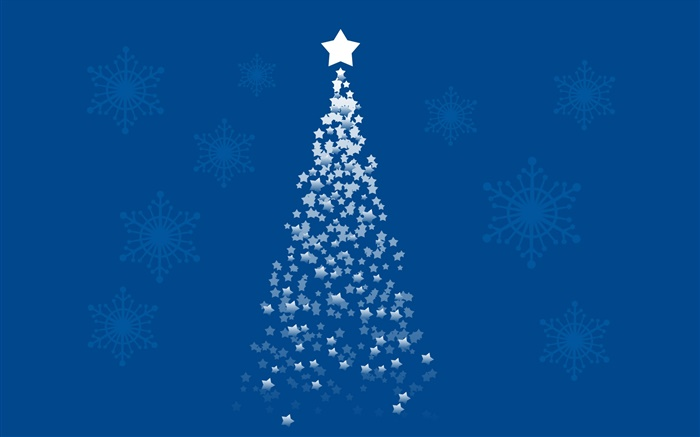 Stars Christmas tree, blue background, art pictures Wallpapers Pictures Photos Images