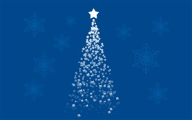 Stars Christmas tree, blue background, art pictures HD wallpaper