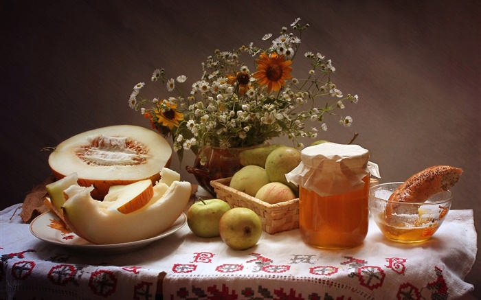 Still life, food, flowers, apples, honey, cantaloupe Wallpapers Pictures Photos Images