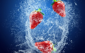Strawberries, red berries, water splash, bubbles HD wallpaper