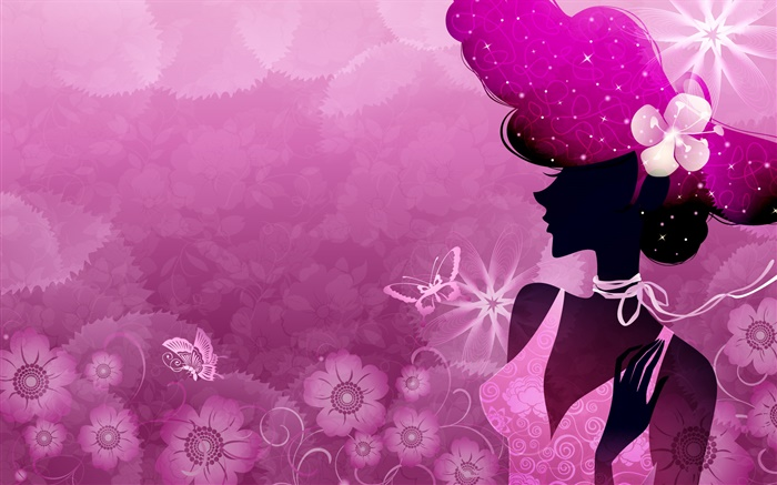 Summer, purple background, vector girl, sun, flowers, butterfly Wallpapers Pictures Photos Images