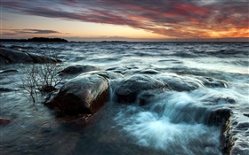 Sunset, sea, clouds, waves, stones HD wallpaper