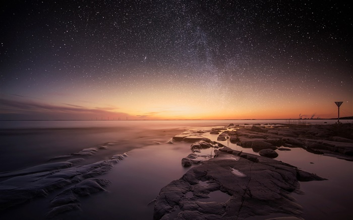 Sweden, Karlstad, Vanern, lake, night, evening, sunset, stars Wallpapers Pictures Photos Images