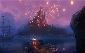 Tangled, Rapunzel, river, boat, night, lights, cartoon movie, art HD wallpaper