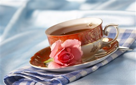 Tea, cup, drinks, pink rose flower HD wallpaper