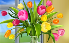 Tulips, flowers, colors, vase, art pictures HD wallpaper