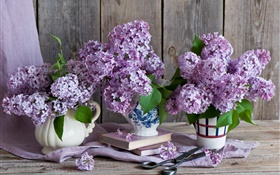 Vase, lilac, purple flowers, books, scissors HD wallpaper