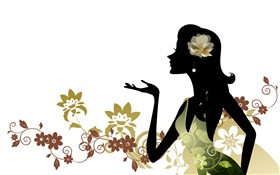 Vector girl, fashion, flowers, white background HD wallpaper