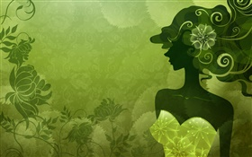 Vector girl, green style, flowers, design HD wallpaper