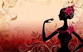Vector girl, right view, flowers, red background HD wallpaper