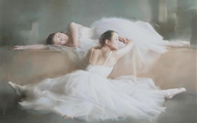 Watercolor painting, ballet, dancer girls, white dress HD wallpaper