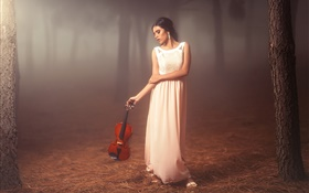 White dress girl in the forest, violin, mood HD wallpaper
