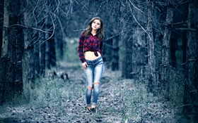 Young girl in the mysterious forest, walk, jeans, midsection, shirt HD wallpaper