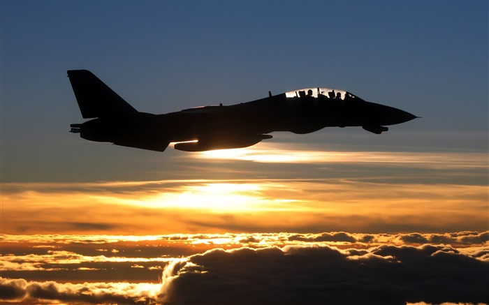 Airplane at sunset, fighter, clouds, sky Wallpapers Pictures Photos Images