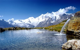 Alps, lake, clouds, blue sky