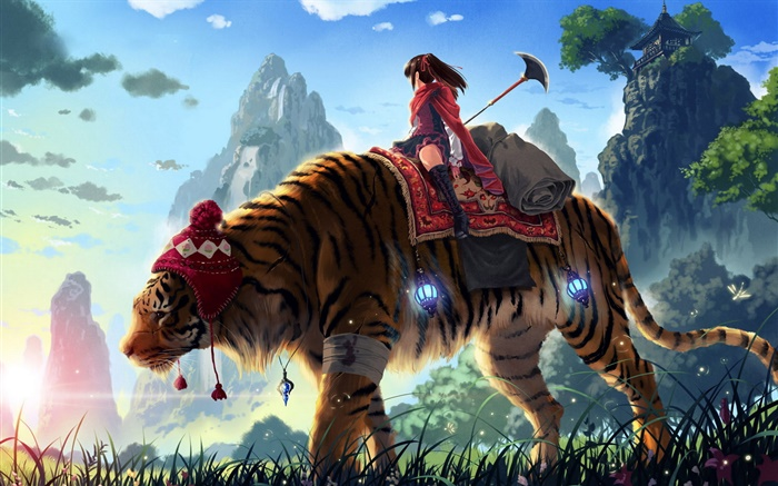 Anime girl ride tiger, mountains, grass Wallpapers Pictures Photos Images