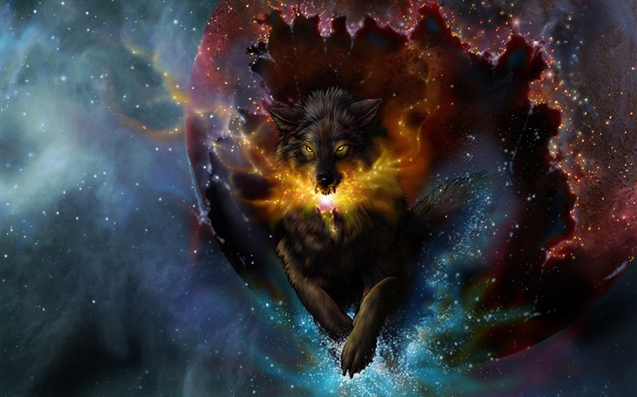 Art drawing, wolf, spark, stars Wallpapers Pictures Photos Images