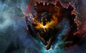 Art drawing, wolf, spark, stars HD wallpaper