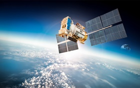 Artificial satellite, planet earth orbit, space HD wallpaper
