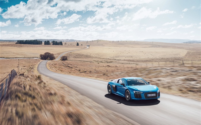 Audi R8 V10 blue car speed Wallpapers Pictures Photos Images
