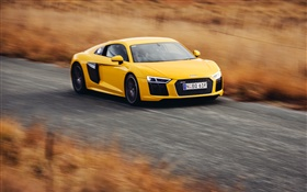 Audi R8 V10 yellow supercar high speed HD wallpaper
