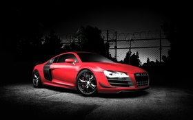 Audi R8 sports car, red color, night HD wallpaper