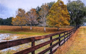 Autumn painting, trees, fence HD wallpaper