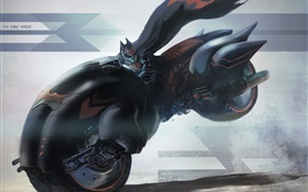 Batman ride motorcycle, speed, art drawing HD wallpaper