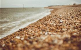 Beach, pebbles, sea, blurry HD wallpaper
