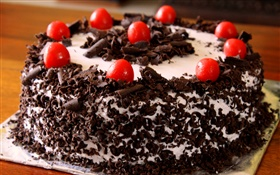 Black Forest cake, red berries HD wallpaper