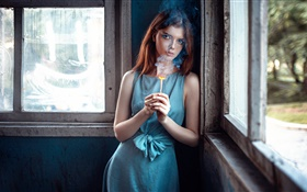 Blue dress girl and matches HD wallpaper