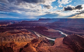 Canyon, river, sky, clouds, mountain, red rocks HD wallpaper