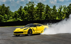 Chevrolet Corvette Stingray Coupe C7 yellow supercar, smoke