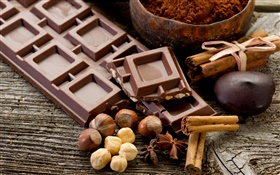 Chocolate and nuts HD wallpaper