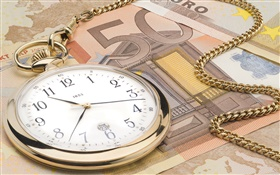 Clock and Euro currency HD wallpaper