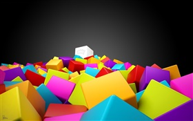 Colorful bricks, 3D pictures HD wallpaper