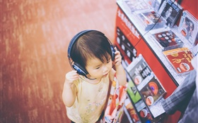 Cute boy listen music, headphones HD wallpaper