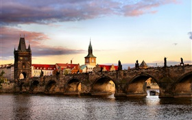 Czech Republic, Prague, city, bridge, river, houses