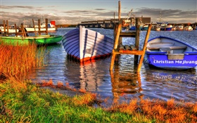 Dock, boats, river, grass, clouds