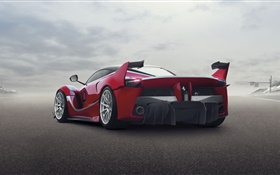 Ferrari FXX K red supercar rear view HD wallpaper