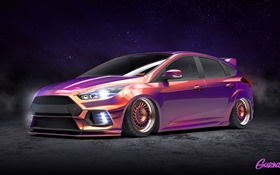 Ford Focus RS purple color car HD wallpaper