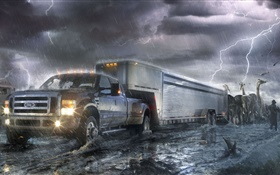 Ford truck, lightning, animals, creative design