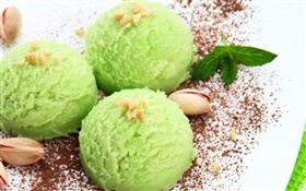 Green color ice cream, nuts, sweet food HD wallpaper