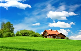 Green grass, trees, house, clouds, blue sky