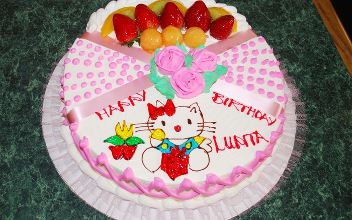 Happy Birthday cake, rose, kitten Wallpapers Pictures Photos Images