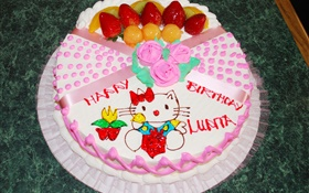 Happy Birthday cake, rose, kitten HD wallpaper