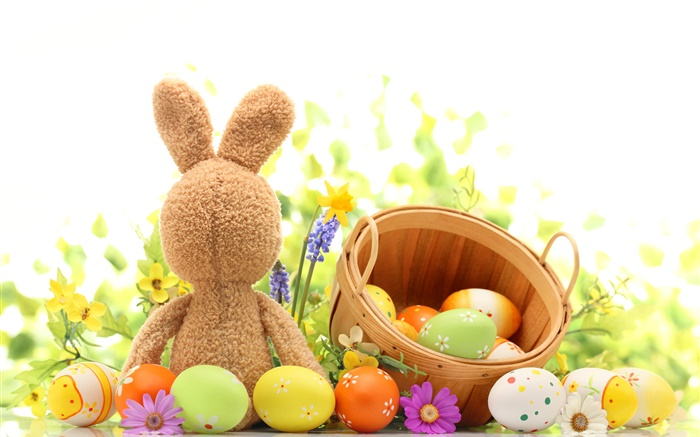 Happy Easter, colorful eggs, decoration, tulips, rabbit toy Wallpapers Pictures Photos Images